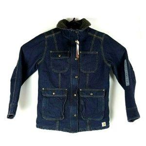 Carhartt Wesley Duck Coat Denim Fleece Liner Small